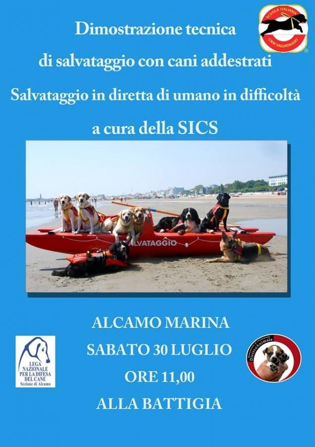 Dimostrazione salvataggio con cani addestrati. Domani mattina ad Alcamo Marina